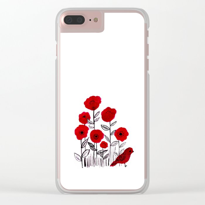 Tall poppies and red bird Clear iPhone Case