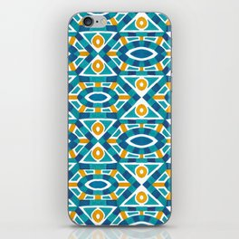 Orange teal watercolor moroccan motif pattern iPhone Skin