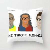 ronaldo Throw Pillows featuring The Three Ronnies - Ronaldo, Ronaldinho and 'CR7' Cristiano Ronaldo by elrooneyo