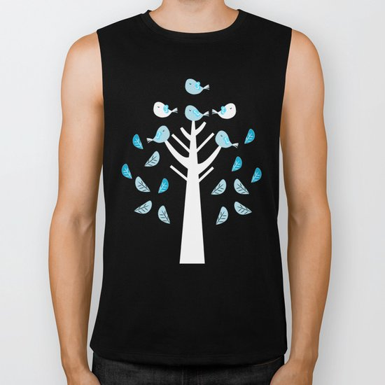 Birds in a tree Biker Tank