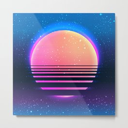 Retro vintage 80s or 90s geometric style abstract art Metal Print