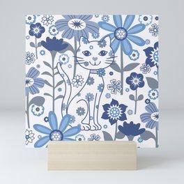 Blue and White Garden Cat Mini Art Print