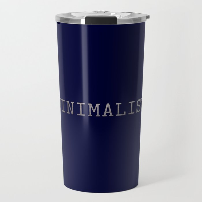 Dark Navy Blue and Silver Minimalist Typewriter Font Travel Mug