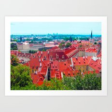 rooftops of prague Art Print
