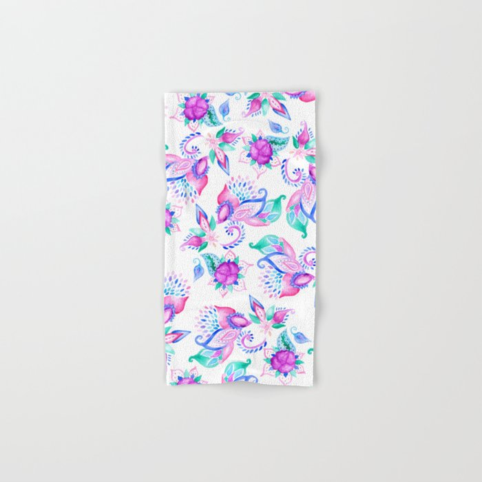 Modern pink turquoise hand painted floral paisley pattern illustration  Hand & Bath Towel