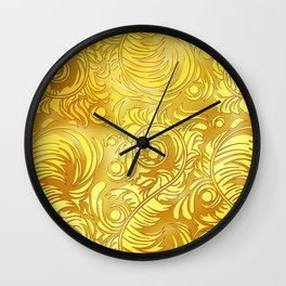 Gold Floral Pattern Wall Clock