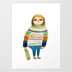 Hipster sloth skateboarder Art Print