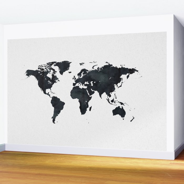 World Map in Black and White Ink on Paper Wall Mural