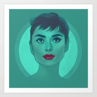 audrey Art Prints featuring Audrey by Megan Lara