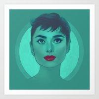 audrey Art Prints featuring Audrey by Megan Lara