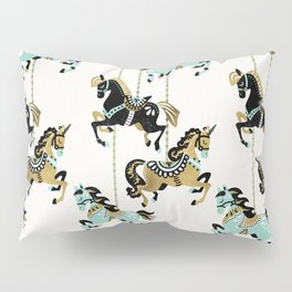 Carousel Horses – Mint & Gold Palette Pillow Sham