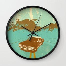LONE BLUE ROAD Wall Clock