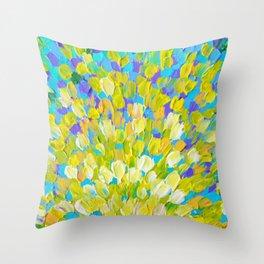 SPLASH 2 - Bright Bold Ocean Waves Beach Ripple Turquoise Aqua Lime Lemon Colorful Rainbow Wow Throw Pillow