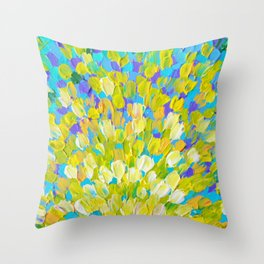 SPLASH 2 - Bright Bold Ocean Waves Beach Ripple Turquoise Aqua Lime Lemon Colorful Rainbow Wow Throw Pillow