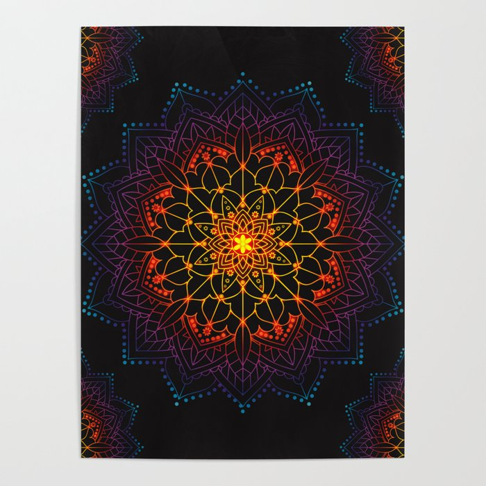 'Glowing Shamballa' Bohemian Mandala Black Blue Purple Orange Yellow Poster