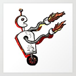 Flamethrower Bot Art Print