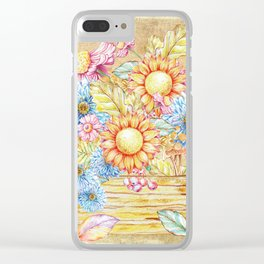 October  Floral Basket Watercolor Clear iPhone Case