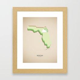 Key Lime Pie in shape of Florida, Key West, Famous Food Kitchen Art Print Framed Art Print
