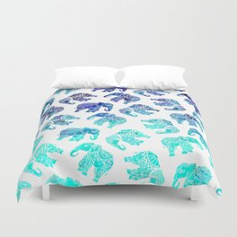 Boho turquoise blue ombre watercolor hand drawn mandala elephants pattern Duvet Cover