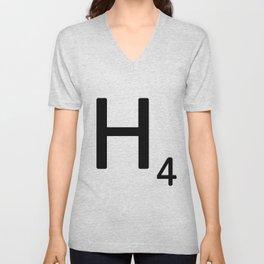 Letter H - Custom Scrabble Letter Tile Art - Scrabble H Unisex V-Neck