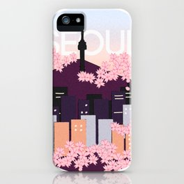 Seoul Tower with Cherry Blossoms Woodblock Style Souvenir Print iPhone Case