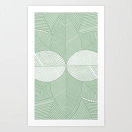 Minimal Tropical Leaves Pastel Green Art Print