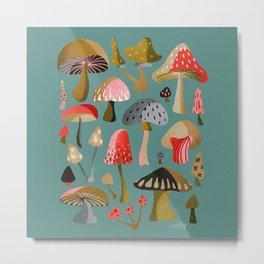Mushroom Collection – Mint Metal Print
