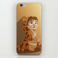 tigger iPhone & iPod Skins featuring Tigger pajama girl by Javier Robles