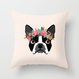 Boston Terrier dog breed with floral crown cute dog gifts pure breed Boston Terriers Throw Pillow