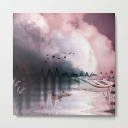 Boat, ducks under a dramatic cloudy sky Metal Print