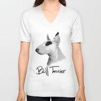 bull terrier V-neck T-shirts featuring Bull Terrier by Det Tidkun