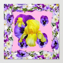 PINK COLOR PURPLE & WHITE PANSIES YELLOW IRIS Canvas Print