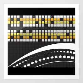 Abstract Crossword Puzzle Squares on Black Art Print