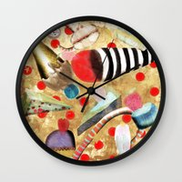 dessert Wall Clocks featuring Watercolor Dessert by Ruth Fitta Schulz