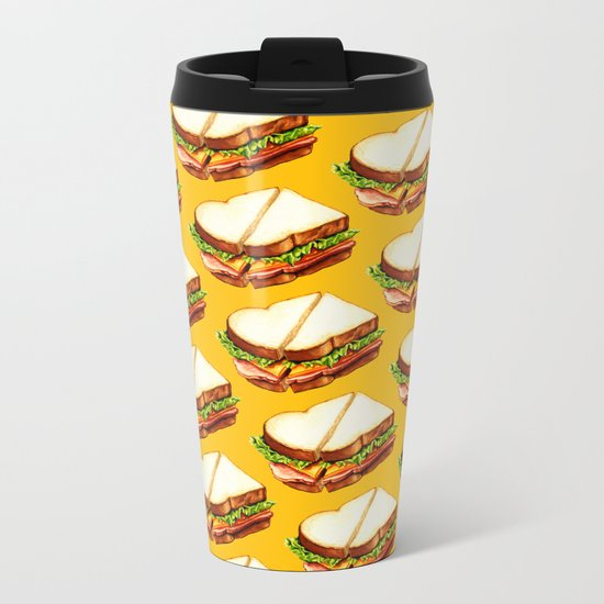 Ham Sandwich Pattern Metal Travel Mug