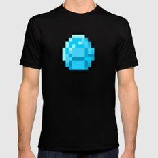 8bit pixelated diamond Black MEDIUM Mens Fitted Tee