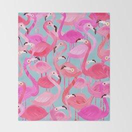 Flamingo pattern grey Throw Blanket