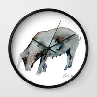 pig Wall Clocks featuring Pig by Elena Sandovici