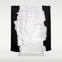 black white Shower Curtains featuring Black, White & White by RvHART