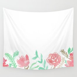 Pink Florals And Mint Leaves Wall Tapestry