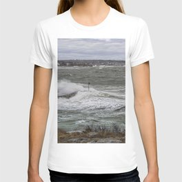 Waves crashing over the jetty T-shirt
