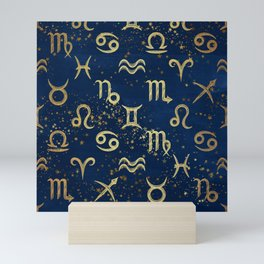Twelve Zodiac Signs Horoscope Pattern Mini Art Print