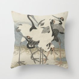 Japanese Woodcut: Cranes on the Water Throw Pillow
