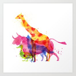 Colorful animals overprint Art Print