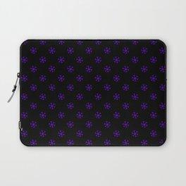 Indigo Violet on Black Snowflakes Laptop Sleeve