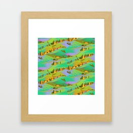 Italian vacations, pattern with Tuscany landscapes Framed Art Print