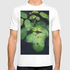 Raindrops on Green Leaves MEDIUM White Mens Fitted Tee
