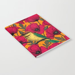 Bee eaters and poppies on orange Notebook