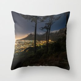Cape Town city and Table Mountain at night Throw Pillow