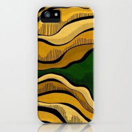Golden Waves with Interrupting Green iPhone Case